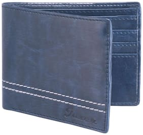 JAXER Men Blue Leather Bi-Fold Wallet ( Pack of 1 )