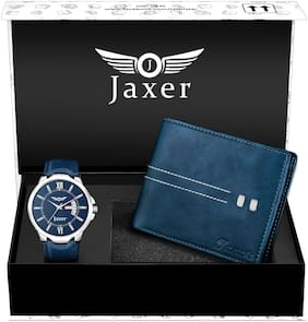 Jaxer Blue Day and Date Function Analog Watch and Leather Wallet Combo Pack for Men & Boys - JXWC2902