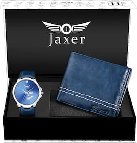 Jaxer Blue Day and Date Function Analog Watch and Leather Wallet Combo Pack for Men & Boys - JXWC2903