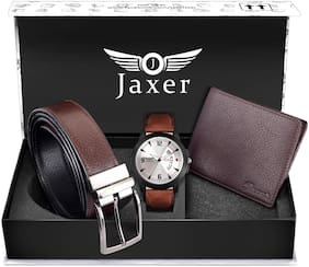 Jaxer Brown Day and Date Function Analog Watch, Leather Wallet and Brown-Black Reversible Belt Combo Pack for Men - JXBWC3003
