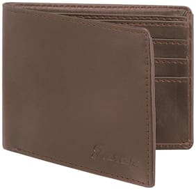 JAXER Men Brown Leather Bi-Fold Wallet ( Pack of 1 )