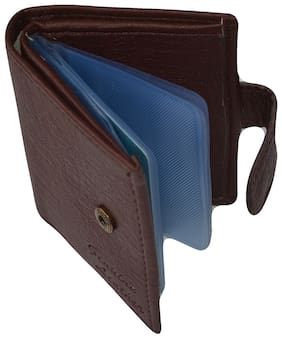 Jeezbier High Quality | Mat Finish leather Stylish Credit/debit/ATM/ID/Visiting Card Wallet  (Dark Brown, 16 Cards with One Money Pocket)