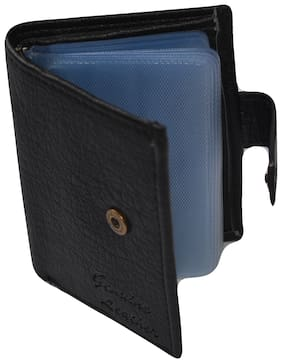 Jeezbier High Quality | Mat Finish leather Stylish Credit/debit/ATM/ID/Visiting Card Wallet  (Black, 16 Cards with One Money Pocket)