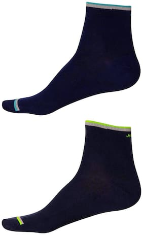 Jockey Blue Cotton Crew length socks ( Pack of 2 )