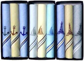 Johnnie Boy Cotton rich exclusive embroidered multicolored handkerchief (ship arrow tower) ( multicolor)