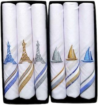 johnnie boy Men Handkerchiefs Pack of 6 White