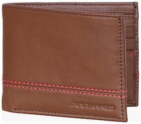 JUSTANNED MEN'S STITCHED DETAIL LEATHER WALLET