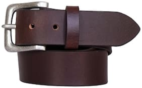 Justanned Men Brown Leather Belt (Size: 32 , Pack of 1 )