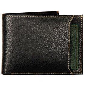 K London Black & Green Leatherite Men's Wallet (1420_GREEN)