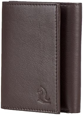 Kara Men Brown Leather Tri Fold Wallet ( Pack of 1 )