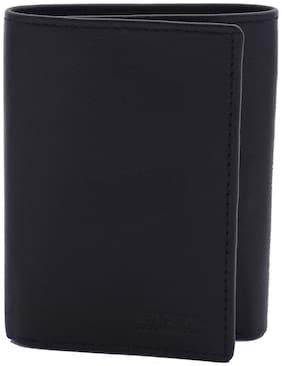Kenneth Cole Men Black Leather Tri Fold Wallet ( Pack of 1 )