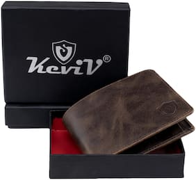 Keviv Men Brown Leather Bi-Fold Wallet ( Pack of 1 )