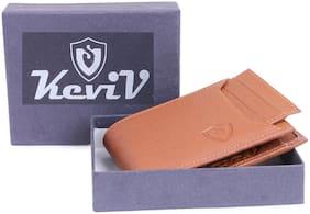 Keviv Men Tan Leather Bi-Fold Wallet ( Pack of 1 )