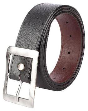 KEZRO Men Black Pu Belt (Size: 36 , Pack of 1 )