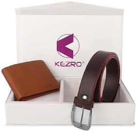 KEZRO Men's Brown Wallet and Formal Belt Combo