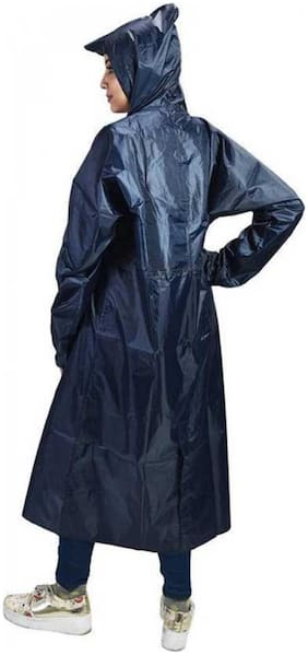Kihome Women Long Raincoat- Blue