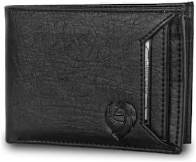 KKRISH Men Black Pu Bi-Fold Wallet ( Pack of 1 )