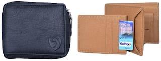 KKRISH Men Black & Beige PU Bi-Fold Wallet