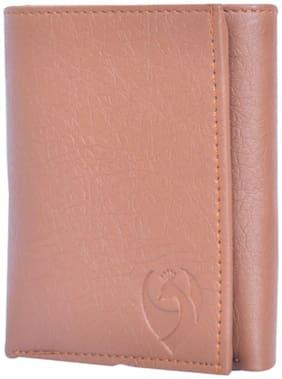 KKRISH Men Brown Pu Tri Fold Wallet ( Pack of 1 )