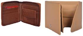 KKRISH Men Beige & Brown Pu Bi-Fold Wallet ( Pack of 2 )