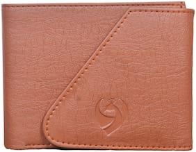 Men PU Tri Fold Wallet ( Brown )