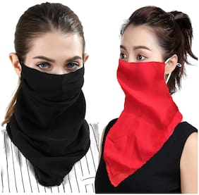 Chrome & Coral Women Chiffon Scarves - Black & Red
