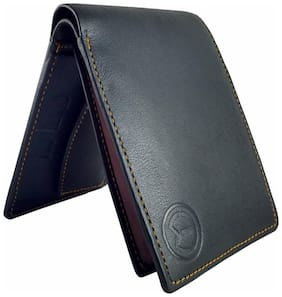 KnW Bi-Fold Black Genuine Leather Hand Crafted Wallet For Men and Boys