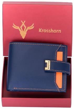 Men Synthetic Leather Bi-Fold Wallet ( Blue )