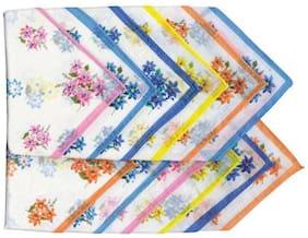 Kuber Industries White Flowers Handkerchief (Pack Of 12)