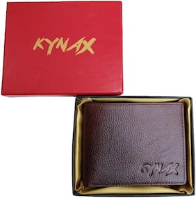 Kynax Luxury Men Dark Brown Colour Hand Crafted Genuine Leather Wallet .Wallet has coin pouch and card holder with Elegant Gift Box Packing (modal nu a1000)