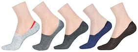 LA SMITH Men's Cotton Blend No Show Socks |Pack of 5| Invisible Loafer Socks