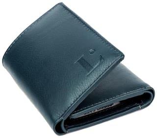 LANDMINE Men Navy blue Leather Tri Fold Wallet ( Pack of 1 )
