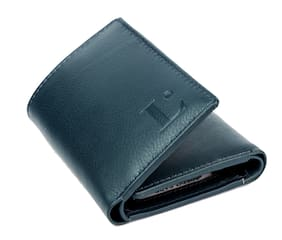 LANDMINE Men Navy blue Leather Tri Fold Wallet ( Pack of 1 )