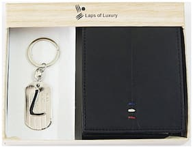 Laps of Luxury - Genuine Leather Premium Wallet Black Color with 'L' Alphabet Key Chain Combo Gift Pack
