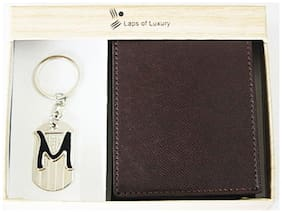 Laps of Luxury - Genuine Leather Classic Wallet Brown Color with 'M' Alphabet Key Chain Combo Gift Pack