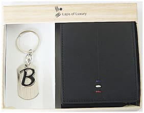 Laps of Luxury - Genuine Leather Premium Wallet Black Color with 'B' Alphabet Key Chain Combo Gift Pack