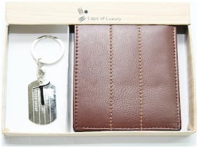 Laps of Luxury   - Genuine Leather Premium Wallet Brown Color with 'T' Alphabet Key Chain Combo pack
