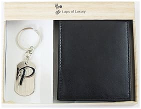 Laps of Luxury - Genuine Leather Classic Wallet Black Color with 'P' Alphabet Key Chain Combo Gift Pack