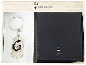 Laps of Luxury - Genuine Leather Premium Wallet Black Color with 'G' Alphabet Key Chain Combo Gift Pack