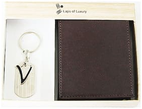 Laps of Luxury - Genuine Leather Classic Wallet Black Color with 'H' Alphabet Key Chain Combo Gift Pack