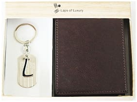 Laps of Luxury - Genuine Leather Classic Wallet Brown Color with 'L' Alphabet Key Chain Combo Gift Pack