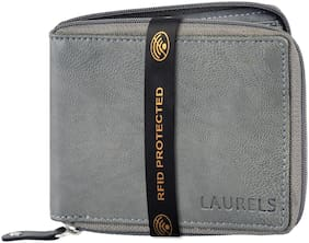 Laurels Men Grey Synthetic leather Bi-Fold Wallet ( Pack of 1 )