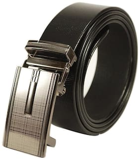 "Lb Collections ""Derry dax"" Branded Genuine Leather Formal Auto lock Black Belt - Auto - 24"