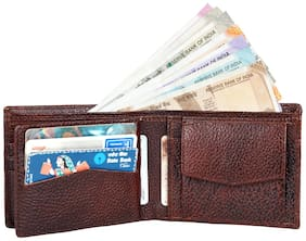 Leather World Brown Buff Genuine Leather Men's Wallet (GW8019)