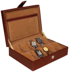 Leather World Tan High Quality PU Leather Watch Box Case for 10 Watches
