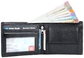 Leather World Black Buff Genuine Leather Men's Wallet (GW8021)