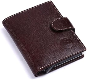 Leatherstile Unisex Leather Card holder - Brown , Pack of 1