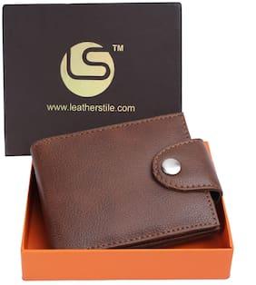 Men Synthetic Leather Bi-Fold Wallet ( Tan )