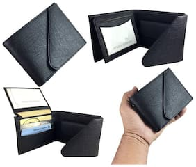 Light Weight Triple Fold Pure Leather Wallet for Men (Black )