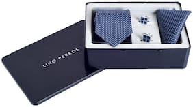 Lino Perros Blue Tie Cufflink And Pocket Square
